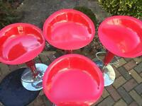 Glossy Red and Chrome Bar Stools