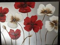 Canvas art frame flowers red