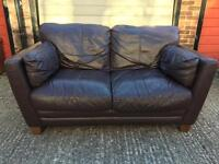 Brown 2 seater leather sofa •free delivery•