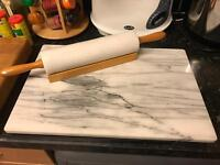 Marble rolling pin and chopping board set