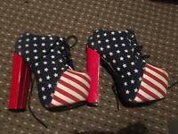 American Flag Heeled Boots .Jeffrey Campbell Style