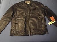 *BARGAIN* men's xxxl soft black leather biker-style jacket