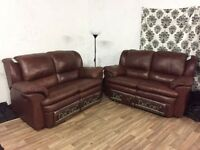 New decoro leather 2+2 seater sofas FREE DELIVERY