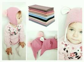 Handmade baby children autumn/ winter hats pom pom hat girl boy unisex