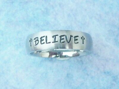 New Custom Personalized Inspirational Message Name Ring With Cross