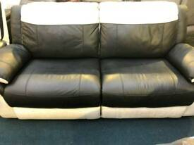Real leather black and white 3+3 seater sofa