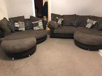 Dfs corner sofa and cuddler with footstools
