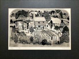 GRAHAM CLARKE -COTTAGE GARDENERS- LARGE PENCIL SIGNED LIMITED EDITION ETCHING