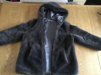M&S Grey Furry Zip-up Hoodie Girls