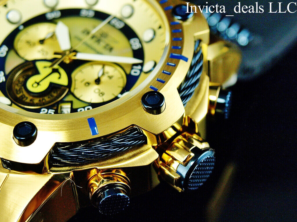 Invicta Men's 52mm Bolt ANCHOR Chronograph Gold Dial Gold &