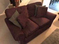 Homebase Deep Purple 3 seater and 2 seater Sofas with cushions