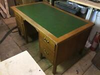 Solid wooden vintage desk with drawers.