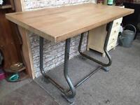 Oak block topped desk with industrial legs