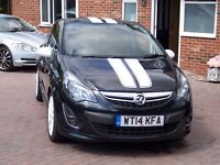 2014 Vauxhall Corsa SRI 3 door Hatchback Black with white stripes