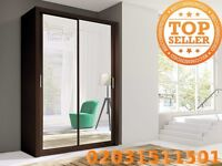 Lux 150 2 Door Sliding Wardrobe in oak, black white wenge light grey cupboard, cabinet, full Mirror