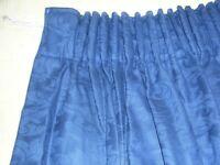 Thick navy blue curtains & holdbacks - fully lined
