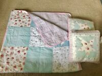 Cath Kidston style large throw and 2 cushions