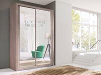 Best deal Lux 150 2 Door Sliding Wardrobe cupboard, cabinet, full Mirror oak white black wenge grey