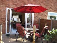 10 PIECE RED AND BLACK PATIO/GARDEN FURNITURE SET WITH PARASOL