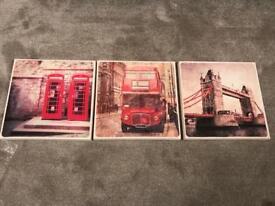 3 London prints on canvas 30 x30 cm