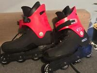 Red and black roller blades