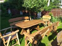 Solid Hand Made Wooden Garden Furniture Set Elm, Oak, Acacia