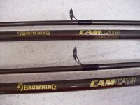 Pair of matching Browning Cam Cad 11' 2.50lb tc carp rods +free rod holdall