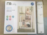 Mothercare pressure fix wide walk-through safety gate and Easyfix side extension.