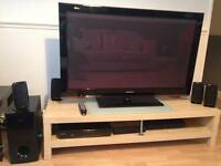 SAMSUNG 50 inch TV with Samsung 5.1 surround sound cinema with blue ray disc player