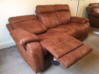3 Seater Manual Recliner Sofa In Saddle Brown - Roma Fabric