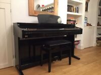 Hemingway DP501 digital piano and stool in High Gloss Black - elegant looks and high specs.