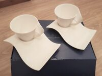 Set of 2 Villeroy & Boch New Wave Cups and Saucers