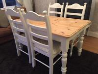 Amazing 4 1/2 ft Shabby Chic Chunky Pine Table and 4 Chairs