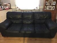 DFS Black leather Sofas