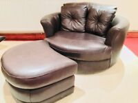 DFS BROWN LEATHER SNUGGLE CHAIR WITH FOOTSTOOL