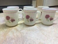 6 Brand New Opal Glassware Heat Resistant Floral Mugs