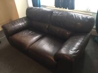 Urgent must be collected on 16/10/17 by 1pm Lovely leather sofa