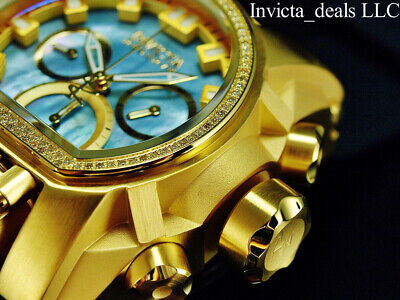 Invicta 52mm Reserve Bolt ZEUS MAGNUM Swiss Chrono DIAMOND Gold Tone SS Watch
