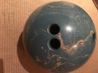 Bowling ball with leather bag