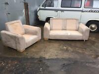 While / cream sofa and chair