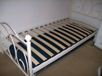 3' x 6' Girls Single Cream Bed Frame & Single Pull Out Bed & Mattress underneath