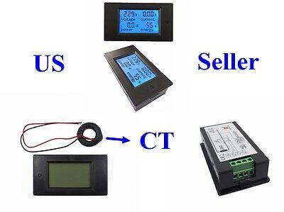 Ac 80-260v 110v 220v Lcd Digital Volt Watt Power Meter Ammeter Voltmeter Ct