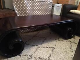 Scroll shaped coffee table