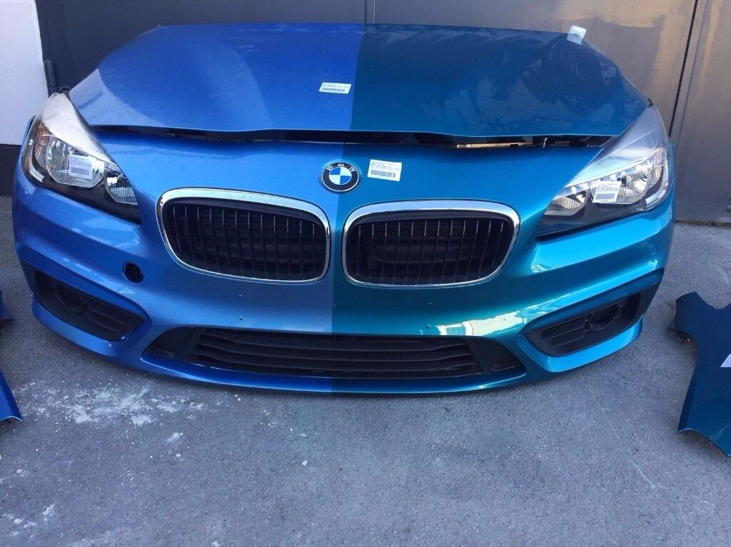 A single unit: Front end LHD BMW 2er F45,46 2014 Headlight bonnet Radiator bumper fenders AC ducts