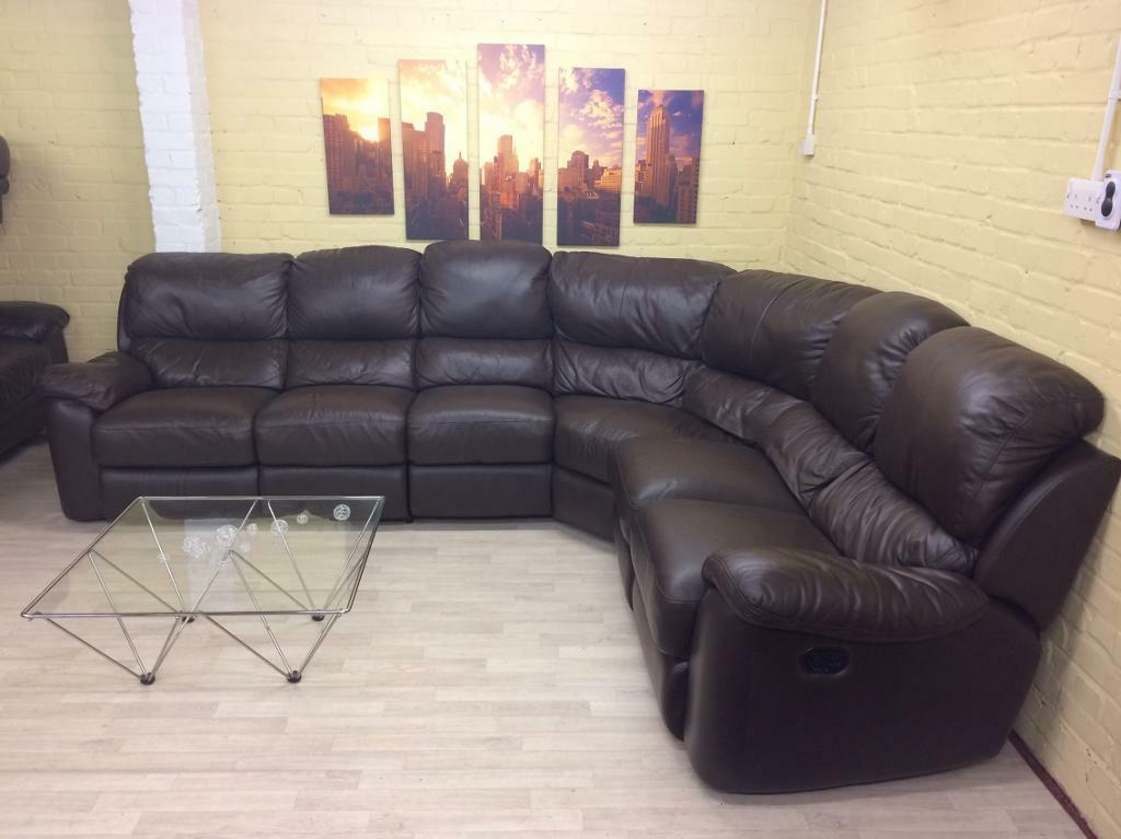 Huge Brown Leather Reclining Corner Sofa