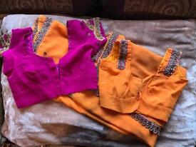 Orange Sari (with hot pink embroidery)