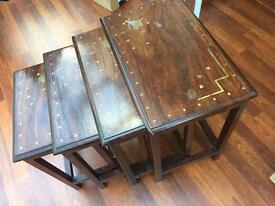 4 wooden nesting tables from Pakistan