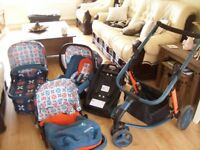 COSATTO GIGGLE TOODLE PIP TRAVEL SYSTEM INC CARRYCOT,SEAT UNIT,CAR SEAT AND ISOFIX BASE FOR BOY/GIRL