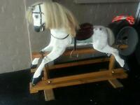 VINTAGE SOLID WOOD ROCKING HORSE ...REAL HAIR MAI E N TAIL ..NICE XMAS GIFT N INVESTMENT