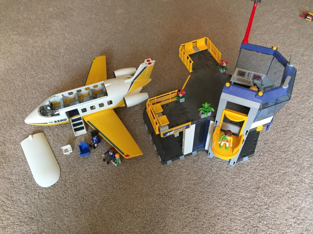 Playmobil plane aeroplane and airport control tower